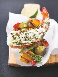 #Langoustine grillée aux 5 poivres sur un lit de légumes grillés #Picard