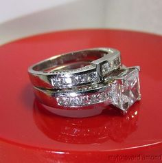 2.36CT PRINCESS CUT ENGAGEMENT RING WEDDING BAND 1