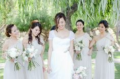 Chriselle Lim and her bridesmaids wearing Lela Rose bridesmaids dresses from Mary Me Bridal.