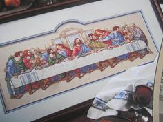 See Sally Sew-Patterns For Less - The Last Supper Cross Stitch Jesus