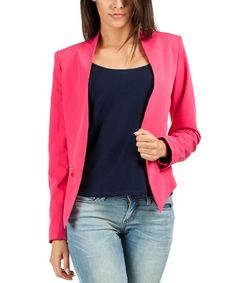 Look what I found on #zulily! Pink Collarless Woven Jacket #zulilyfinds