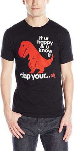 Amazon.com: Goodie Two Sleeves Men's Clap Your Oh Sad T-Rex T-Shirt: Clothing