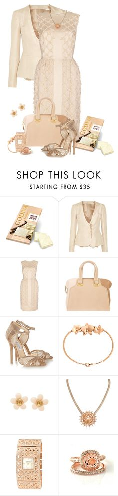 """""""Godiva White Chocolate & Vanilla Beans"""" by lisa-arnold-holden ❤ liked on Polyvore featuring Valentino, Temperley London, Fendi, Jimmy Choo, Cartier, tuleste market, Anne Klein, metallic sandals, rose gold rings and rose gold watches"""