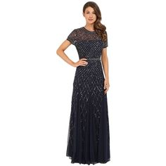 048fe26e24a Adrianna Papell Cap Sleeve Fully Beaded Gown (Navy) Women s Dress ( 320) ❤