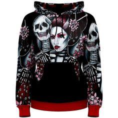 Womens Skeleton Geisha Japanese Horror Hoodie Tattoo Art All Over... ($52) ❤ liked on Polyvore featuring tops, hoodies, black, sweatshirts, women's clothing, black hoodie, skeleton hoodie, black sweat shirt, sweatshirt hoodie and hooded sweatshirt