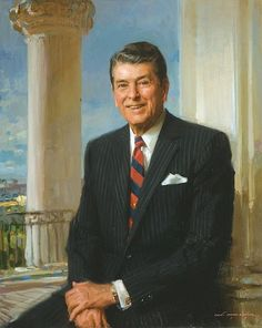 Official White House Portrait of Ronald Wilson Reagan ~ President of the United States. (Term: He challenged the leader of the Soviet Union to tear down the Berlin Wall. Also, he was primarily responsible for ending the Cold War. List Of Presidents, Presidents Wives, Greatest Presidents, American Presidents, American History, American Pride, Presidential Portraits, Presidential History, Presidential Trivia