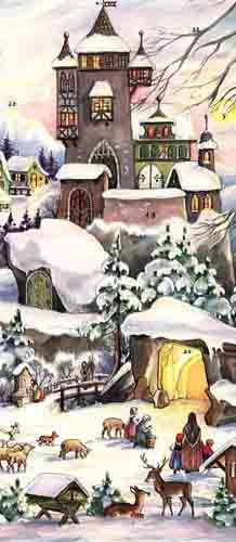 Snowy Castle Vintage Style Advent Calendar - My favorite so far; the one we used last year! Vintage Christmas Cards, Retro Christmas, Christmas Images, Vintage Ornaments, Vintage Holiday, Vintage Cards, Vintage Postcards, Christmas Nativity, Christmas Art