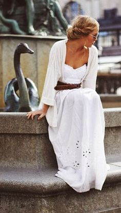 White Eyelet Maxi Dress with belt #fashion #fbloggers