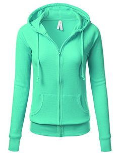 FLORIA Women Versatile Lightweight Thermal Knitted Full Zip-Up Hoodie Jacket SPEARMINT M #outfitoftheday -- Click sponsored image to review more details.
