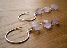 Light Violet Amethyst Chip Sterling Silver Hoops  by PepaMoyano, $44.00
