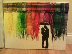 Melting crayons - something like this would actually be very neat with all blue crayons in different shades...would match my living room!