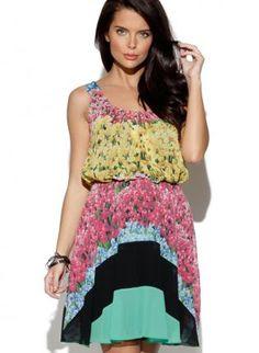 Sleeveless Rainbow Stripe Flower Print Dress,  Dress, color block  elastic waist, Chic