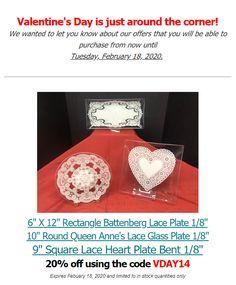 "8/"" x 12/"" Rectangle Shallow /""BENT/"" Glass Plate 1//8"
