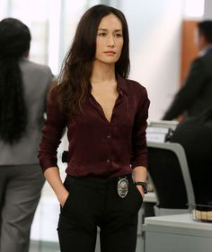 Talented actress Maggie Q in her hit CBS series Stalker. Love this blouse