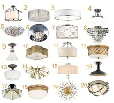 flush and semi-flush mount lights - one of these could really help raise the ceiling in the dining nook.  i like almost all of them!