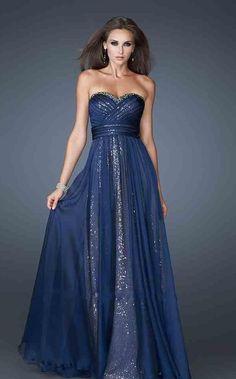 vestido largo fiesta en azul con lentejuelas - Prom dress Prom dresses