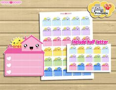 Kawaii Household Chores Printable planner stickers. por designby2
