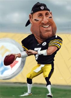 Big Ben (Rothlesberg) by Rich Conley Caricatures - Pittsburg Steelers Quarterback Pittsburgh Steelers Football, Pittsburgh Sports, Nfl Sports, Funny Caricatures, Celebrity Caricatures, Here We Go Steelers, Steeler Nation, Fantasy Football, Memes