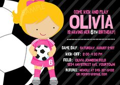 Soccer Invitation for Girls Birthday Party Choice by PixelParade, $9.99