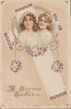A Joyous Easter Young Angels Christian P S Dresden Series #4970 PC 1915 Rare #Easter