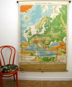 Vintage Pull Down Wall Map of Europe, 1955 Denoyer Gepphert 64 x 43