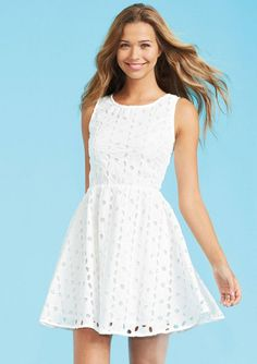 7. #White Eyelet #Dress - 7 Back to School #Dresses That Will Make a Statement ... → #Fashion #Combat