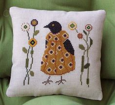 Cross Stitch Crow by Jack Wabbit Primitives