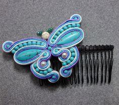 SOUTACHE Butterfly Hair Comb, Turquoise Beaded Fantasy, ARTIST - HANDMADE #Handmade