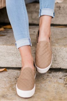 My Way Or The Highway Taupe Slip On Sneakers at reddressboutique.com