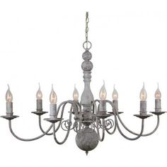 "CHRISTINA Chandelier Antique Gray 8-Lights,24.5x35x23"" - Light & Living"