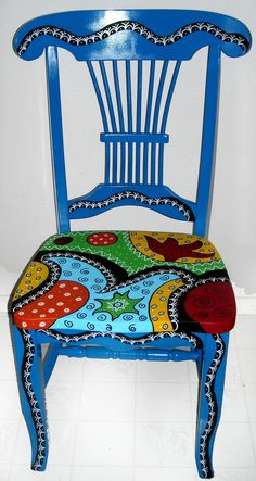 multiple painted chairs