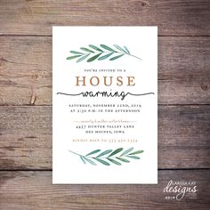 Printable House Warming Invitations, Greenery, Botanical, Party, Print at Home New Home Invite by Larissa Kay Designs