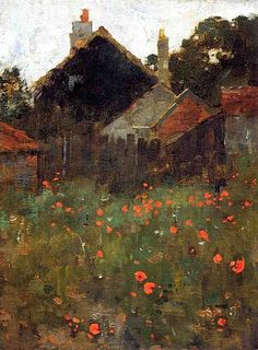 The Poppy Field oil on canvas by Willard Metcalf, 1858-1925, American landscape painter known as the poet laureate of the New England hills.