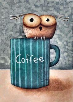 Your place to buy and sell all things handmade Happy Coffee, Coffee Is Life, I Love Coffee, Coffee Art, My Coffee, Coffee Humor, Coffee Quotes, Owl Cartoon, Cartoon Owl Drawing