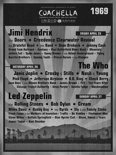 Jimi Hendrix - The Doors - Grateful Dead - The Who - Led Zeppelin - Pink Floyd - Crosby Stills Nash & Young - Cream - Creedence Clearwater Revival - Jafferson Airplane - Frank Zappa - Traffic - Fleetwood Mac Grand Funk Railroad, Rock Posters, Band Posters, Music Posters, Blues Rock, Lorde, Hush Hush, Festival Woodstock, Spooky Tooth