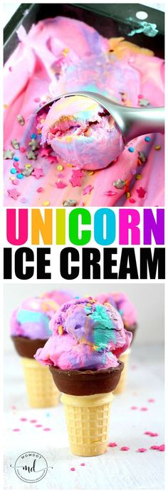 Unicorn Ice Cream Recipe: No Churn Rainbow ice cream - be ready today! Unicorn Ice Cream Recipe: No Churn Rainbow ice cream - be ready today! Köstliche Desserts, Frozen Desserts, Frozen Treats, Dessert Recipes, Lunch Recipes, Delicious Recipes, Tasty, Glace Unicorn, Unicorn Ice Cream