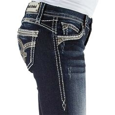 Pre-owned Rock Revival Skinny Jeans ($120) ❤ liked on Polyvore featuring jeans, dark ankle skinny jeans, dark blue skinny jeans, metallic skinny jeans, rock revival skinny jeans, ankle zipper skinny jeans and stretchy skinny jeans