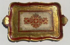 Italian Florentine Wooden Hand Painted Toleware Serving Tray Platter Beautifully Ornate Gold Red