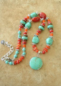 I love turquoise & coral together....Boho Necklace Turquoise Jewelry Southwest Jewelry by BohoStyleMe