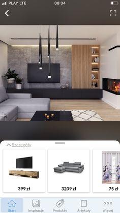 Living Room Wall Units, Living Room Tv Unit Designs, Home Design Living Room, Living Room With Fireplace, Living Room Decor, Modern Home Interior Design, Modern House Design, Salas Lounge, Black Bedroom Design
