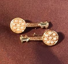 ASK for 5.00 OFF Mint Pair Pearl Pins, Duet Seed Pearl Pins, Mini Lyre Brooches, Music Pin Set, Vintage Duo Pin Up Sweater Pins 50s Style