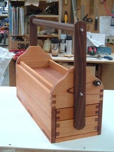 Boatbuilder's Toolbox - see rotating handle that holds the bottom drawers in; removable top tray, and handle stops on each end.