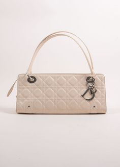 Cream Lambskin Cannage Quilted Soft Lady Dior East West Bag