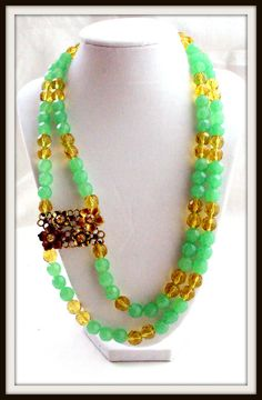 Mint green glass beads two layer lime greenn necklace by 4YJD, $30.20