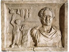 Funerary relief of Roman butcher Tiberius Julius Vitalis. Villa Albani, Roma.