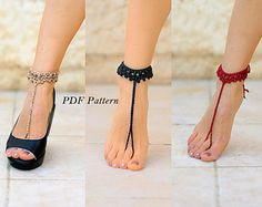 CROCHET barefoot sandals PATTERN Step-by-step instructions with clear detailed description and exellent images Barefoot Sandals Crochet, Bridal Sandals, Sandals Wedding, Bare Foot Sandals, Diy Clothes, Diy Fashion, Crochet Patterns, Heels, Things To Sell