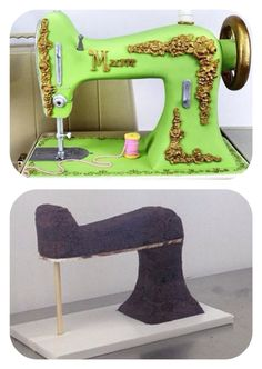 34 trendy Ideas for sewing machine cake topper tutorial 3d Cakes, Fondant Cakes, Cupcake Cakes, Fondant Bow, Fondant Flowers, Fondant Figures, Sewing Cake, Sewing Machine Cake, Silai Machine