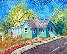 Little Mint house in Barelas  by Sally Bartos, New Mexico artist. Her work is available from bartos on Etsy.