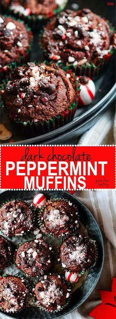Dark Chocolate Peppermint Muffins with Soothing Peppermint oil! These chocolate peppermint muffins are not only grain free, but a healthy and festive way to enjoy breakfast or dessert. Plus they are a perfect pair for your coffee or hot chocolate, rich da