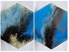 Blue, Black & Gold - Resin Art Coasters Resin Art, Epoxy, Black Gold, Coasters, Art Pieces, Gems, Shapes, Diy, Handmade